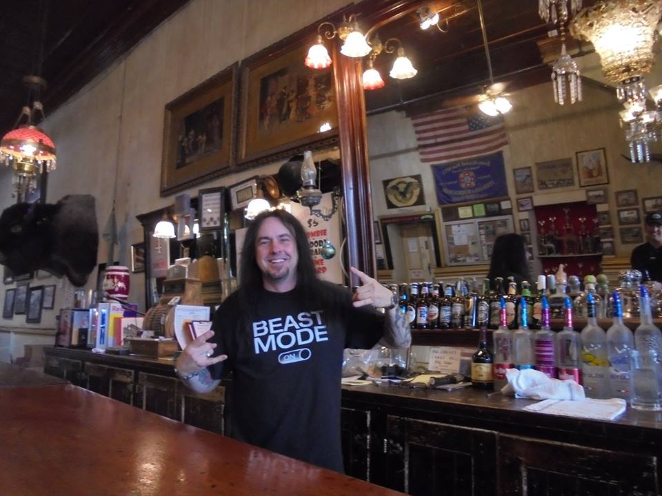 Barry Fox, most awesome bartender ever at the Washoe Club in Virginia City, Nevada.