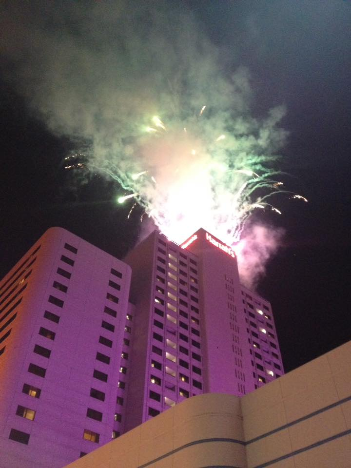 New Years Eve fireworks display grand finale at Harrah's Hotel and Casino in Downtown Reno.
