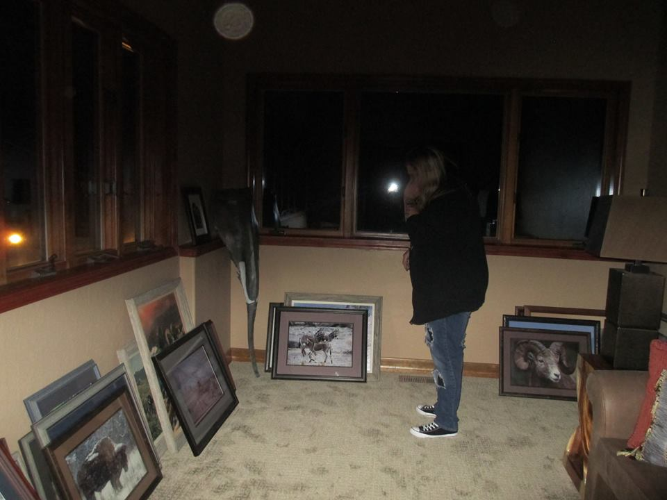 Michelle Le Baron with Shadow form and huge orb in the Author's parents' home in Verdi, Nevada.
