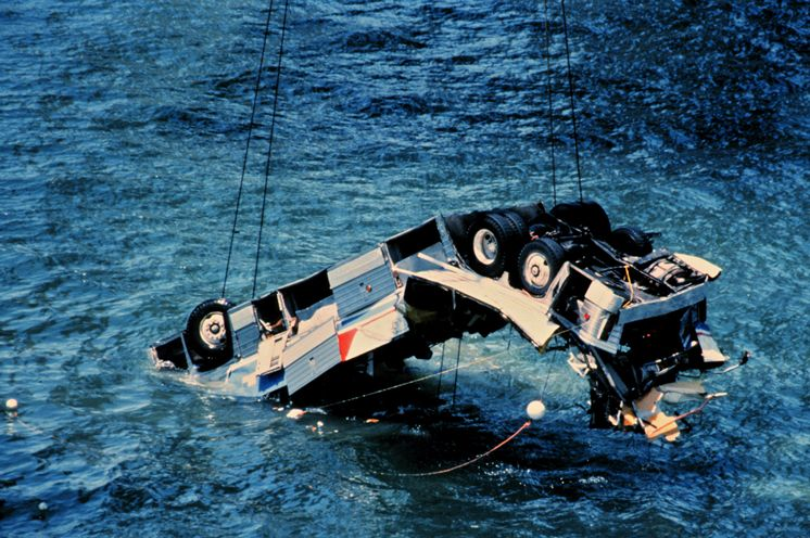 The Greyhound Bus carrying 26 human lives which were all lost that fateful morning on the Skyway Bridge. Photo Credit: Tampa Bay Times