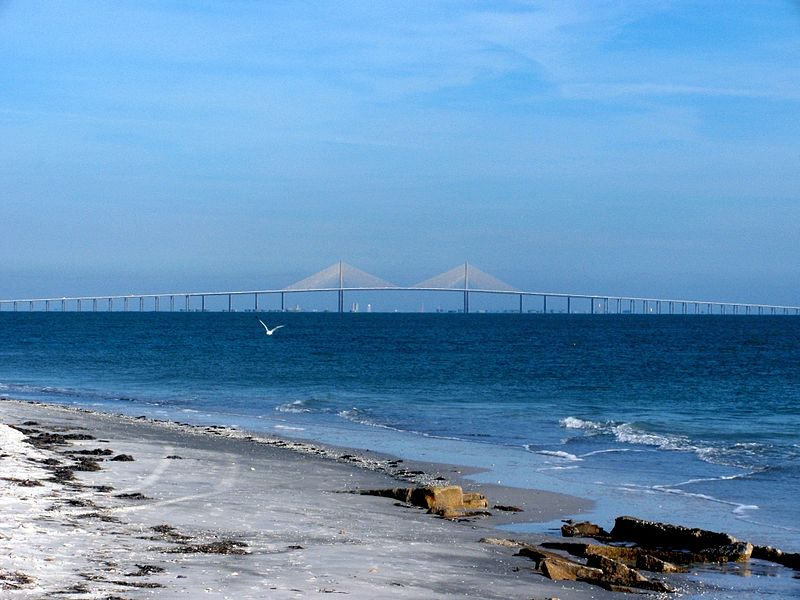 The newer Skyway Bridge viewed from Fort Desoto Park.