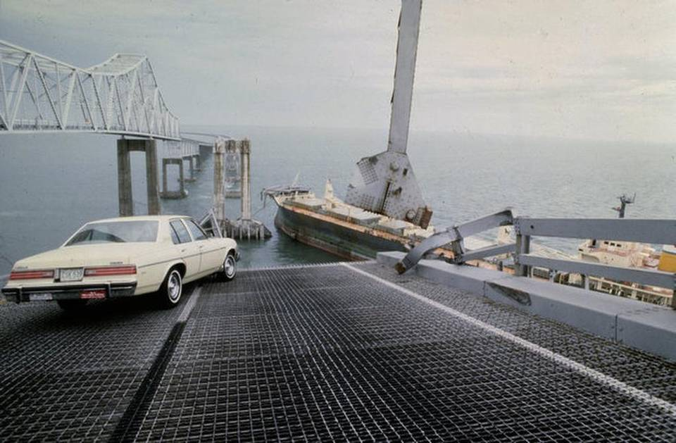 A car barely stops on the edge of the collapsed Skyway bridge on May 9, 1980. Photo Credit: Miami Herald